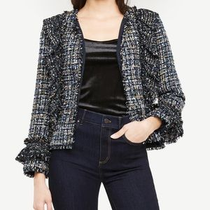 ANN TAYLOR Tricolored Ruffle tweed Peplum Jacket